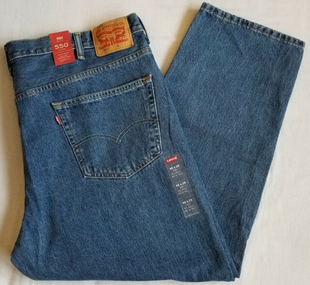 0e085102 Levi's 550 Mens Big & Tall Relaxed Fit Jeans 46x30 Medium Stonewash W46l30