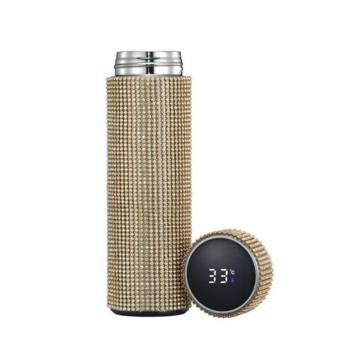Stainless Steel Vacuum Flask Rhinestones Water Bottle Temperature Display Mug