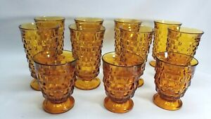 8-3-INDIANA-Whitehall-Colony-Cubist-Cube-Amber-Harvest-Gold-Ice-Tea-Tumblers