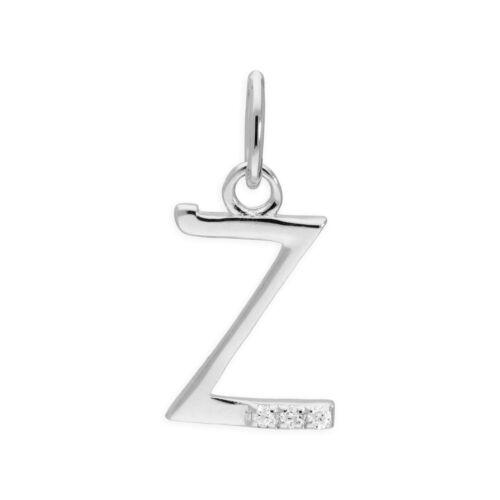 Sterling Silver /& Triple 1.2pt Diamond Alphabet Letter Pendant A Z
