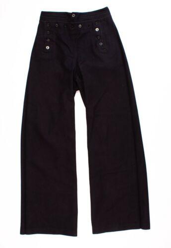 Womens Vintage 40s Navy Blue Wide Leg Bell Bottom