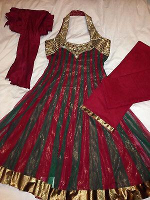 Indien Kleid Neckholder Anarkali Bollywood Nagpals India Grün Rot Gold S/m Neu Hindernis Entfernen