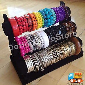 Image Is Loading 3 Tier Velvet Jewelry Bracelet Watch Bangle Display