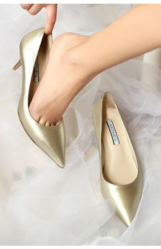 Ladies Pointed Shoes Shiny Synthetic Leather Med Heels Party Pumps US Size S016