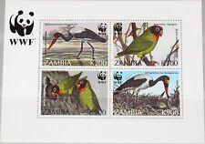 ZAMBIA SAMBIA 1996 Block 20 S/S WWF Vögel Birds Fauna Endangered Species MNH R !