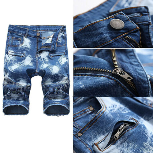 Mens Denim Biker Capri Pants Ripped Jeans Shorts Distressed Summer Shorts Casual