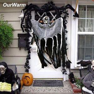 Skull-Halloween-Hanging-Ghost-Haunted-House-Grim-Reaper-Horror-Props-Door-Decor