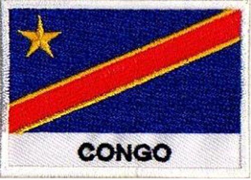Patch écusson patche drapeau pays nations Congo 70 x 45 mm brodé