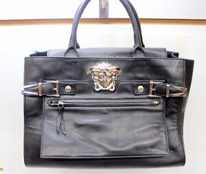 8f216df7ba Image is loading Versace-Palazzo-Large-Black-Leather-Shoulder-Bag-Handbag