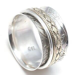 Solid-925-Sterling-Silver-Spinner-Ring-Meditation-Ring-Statement-Ring-Size-SR731