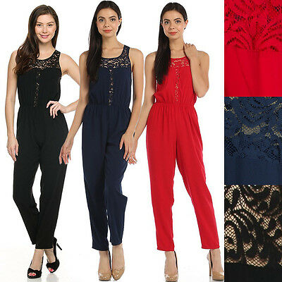 Women Solid Lace Trimmed Keyhole Back Sleeveless Woven Slim Jumpsuit Full Romper
