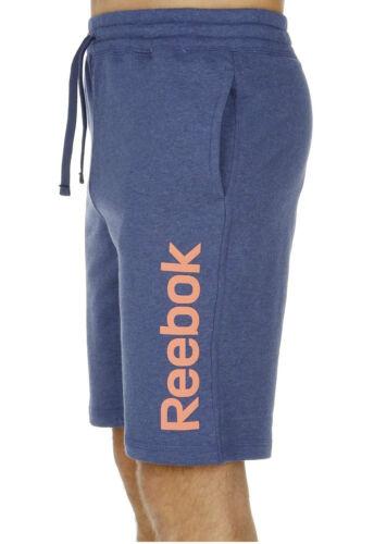 Men/'s New Reebok EL Logo Long Cotton Shorts Blue