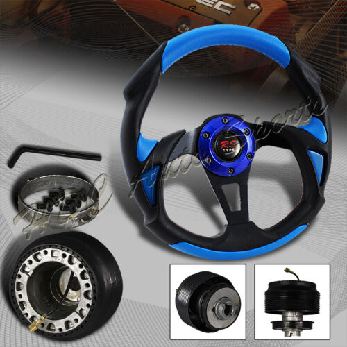 For 1989-1998 Maxima//240SX 320MM Blue//Black Leather Type-B Steering Wheel+HUB