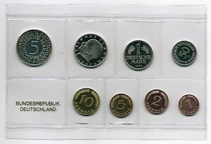 1Pf. bis 5 DM 1968 f Deutschland / BRD Kurssatz Polierte Platte Auflage nur 3100