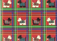 Scotty & Westie Dog Christmas Heavy Embossed Gift Wrap Paper -two 26x 6' Sheets
