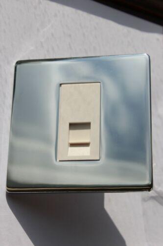 Designa Grid Die Cast Polished Chrome White Insert RJ11 socket