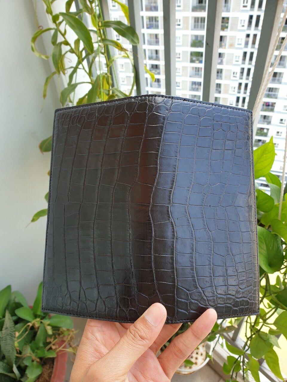 black doubleside Crocodile Alligator Belly Leather Zipper Clutch Long Wallet