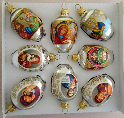 8 Ukrainian Glass Christmas Ornaments, Pysanka Hen Size, Xmas Orn., Icons # - Ukrainian Christmas Decorations Collection On EBay!