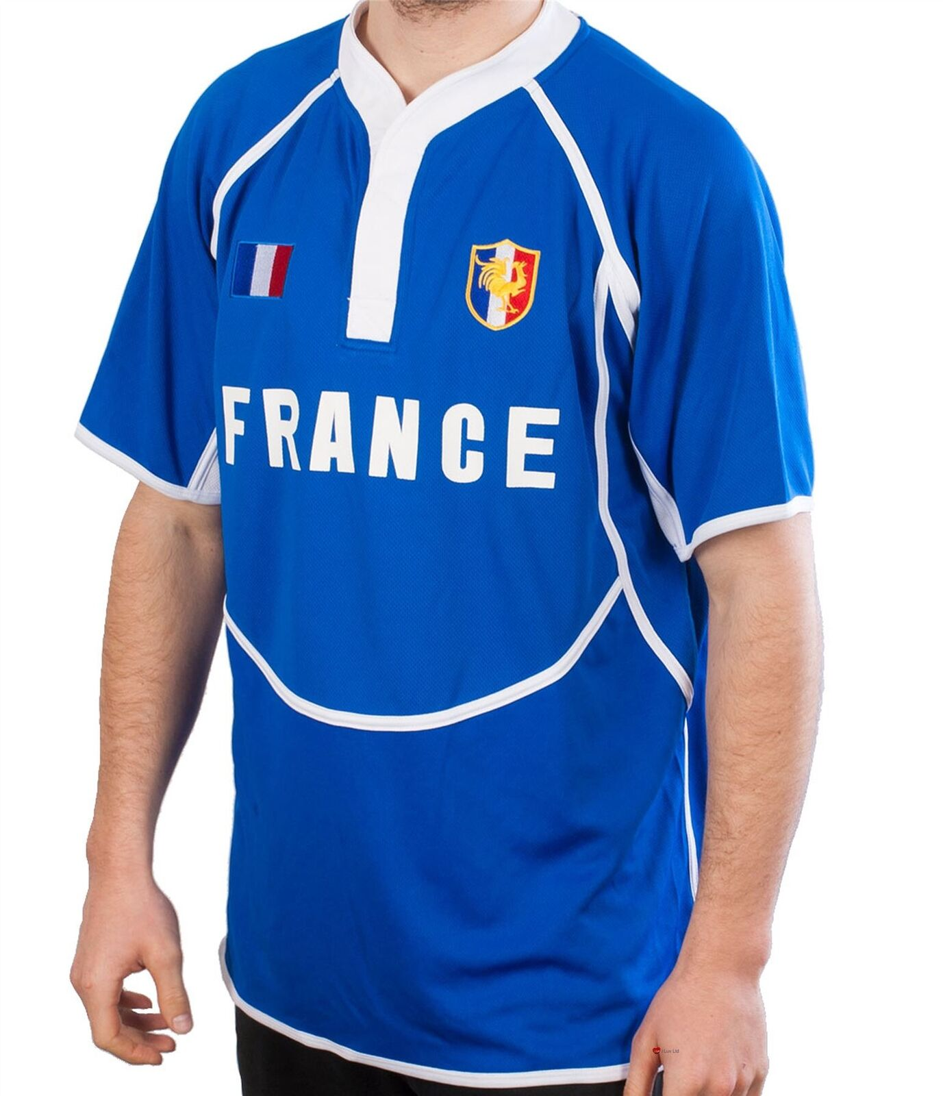 Gents Cooldry Style Rugby Shirt In France Colours Größe 2X-Large