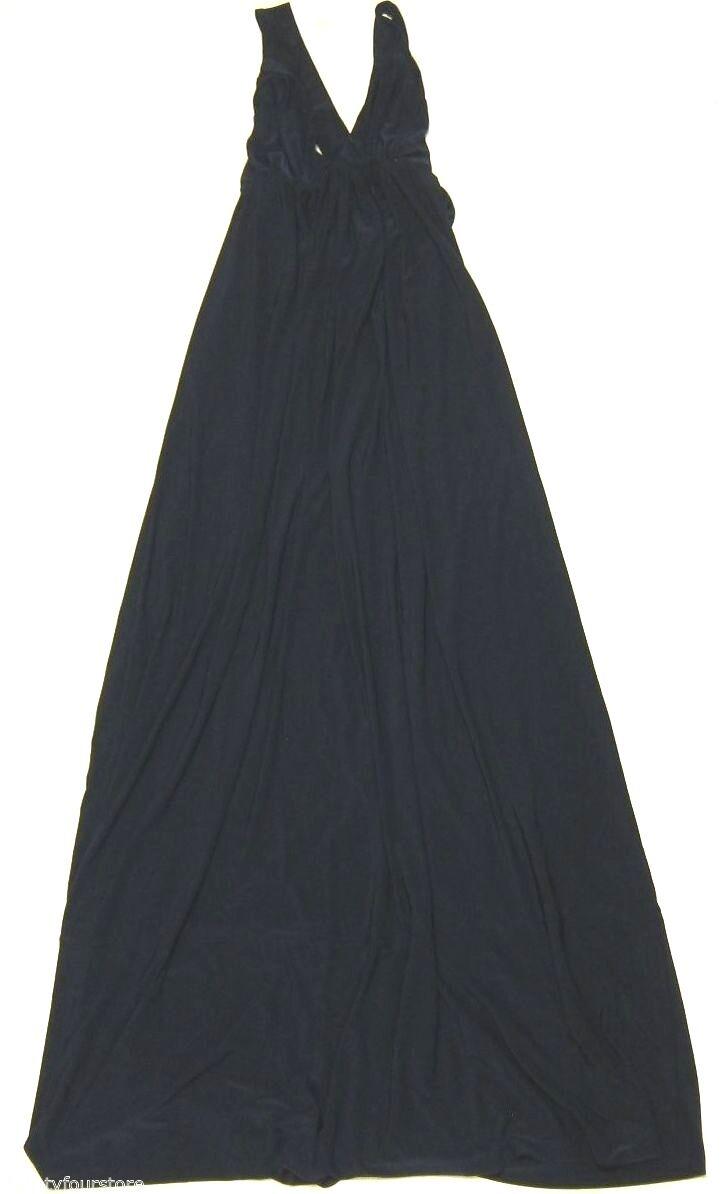NWT T Bags Triangle Halter Maxi Dress w  Criss Cross Back Straps Navy sz S