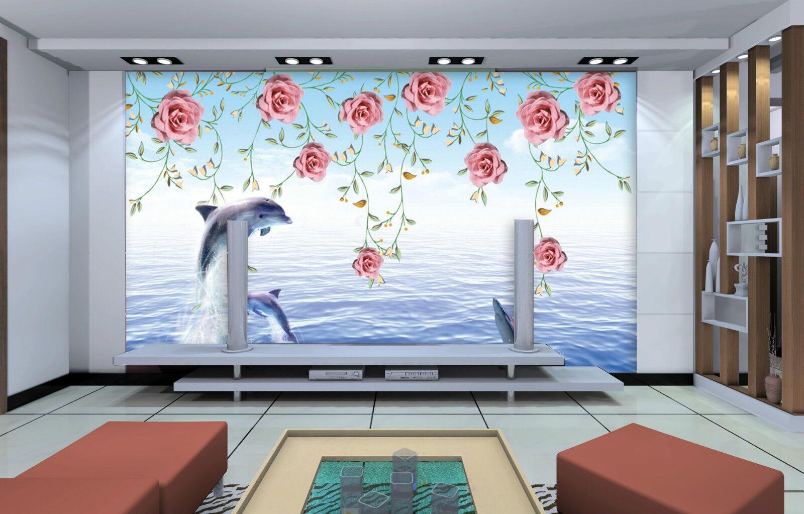 3D Delphine und Blumen 245 Fototapeten Wandbild Bild Tapete Familie Kinder