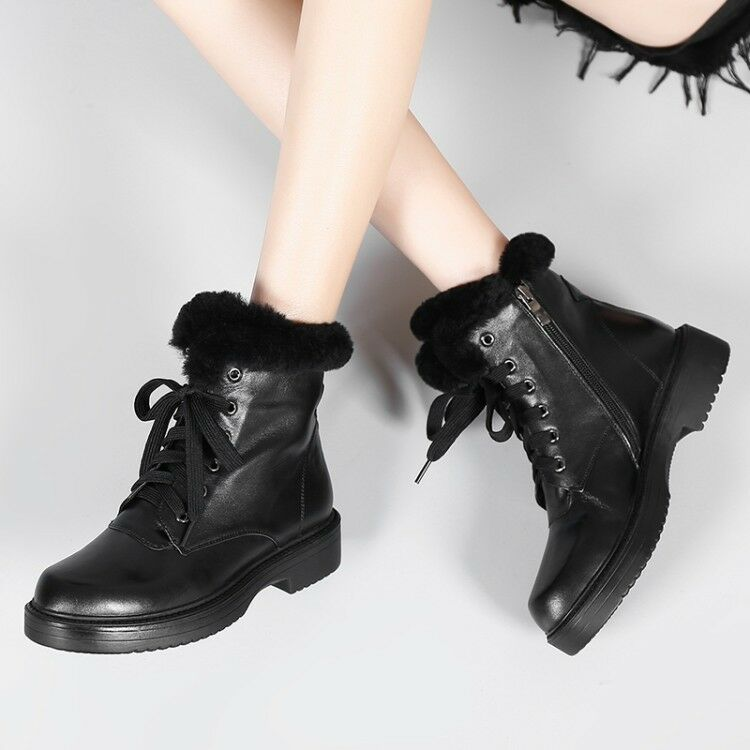 Womens New Fashion Leather Fur Trim Lace Up Combat Martin Ankle Boots shoes R114