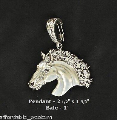 Rodeo Cowgirl ~ Crystal HORSEHEAD ~ Lrg Western Pendant Silver Horse Head Fancy