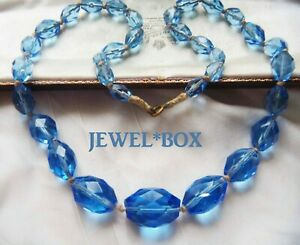 ANTIQUE-ART-DECO-CORNFLOWER-BLUE-FACET-CRYSTAL-HAND-KNOTTED-LARGE-BEADS-NECKLACE