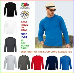 MENS-100-Long-Sleeve-COTTON-T-SHIRT-Fruit-of-the-Loom-Vale-SS21-T-Shirt-Tee