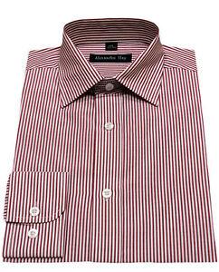 Alexander-Hay-A-Righe-Rosse-Uomo-Fatto-Su-Misura-Elegante-Camicie