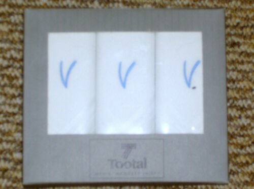 NEW THREE 3 BOXED HANDKERCHIEFS PERSONALISED  INTITIAL /'V/' GOOD QUALITY TOOTAL