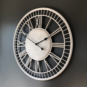 Extra Large TUSCANY Wall Clock Shabby Cream Metal Open Face with Roman Numerals