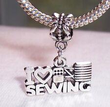 I Heart Sewing Love Seamstress Dangle Bead fits Silver European Charm Bracelet