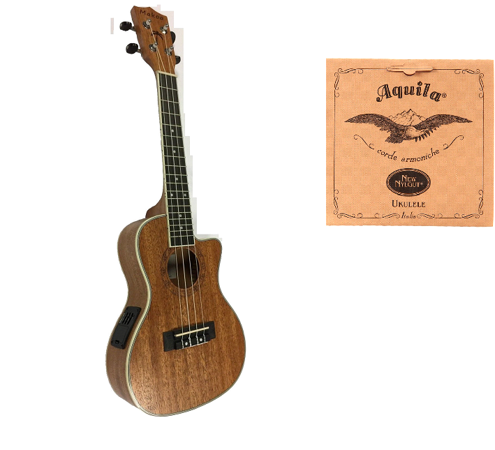 Makoa UK-100CE Soprano Acoustic Electric Mahogany Wood  FREE Strings AQUILA