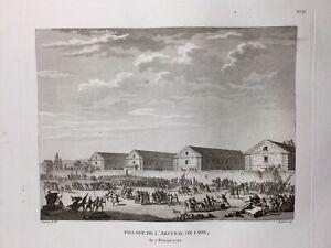 Rare-Lyon-1790-Arsenal-de-Lyon-Gravure-Ancienne-Epoque-Revolutionnaire-Rhone