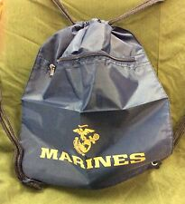 "USMC Marine Corps Bag Drawstring Gym Ditty Lightweight 19"" x 14"" Blue"