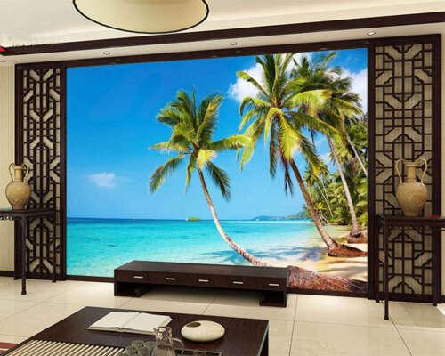 Coconut Palm Beach 3D Full Wall Mural Photo Wallpaper Printing Home Kids Decor