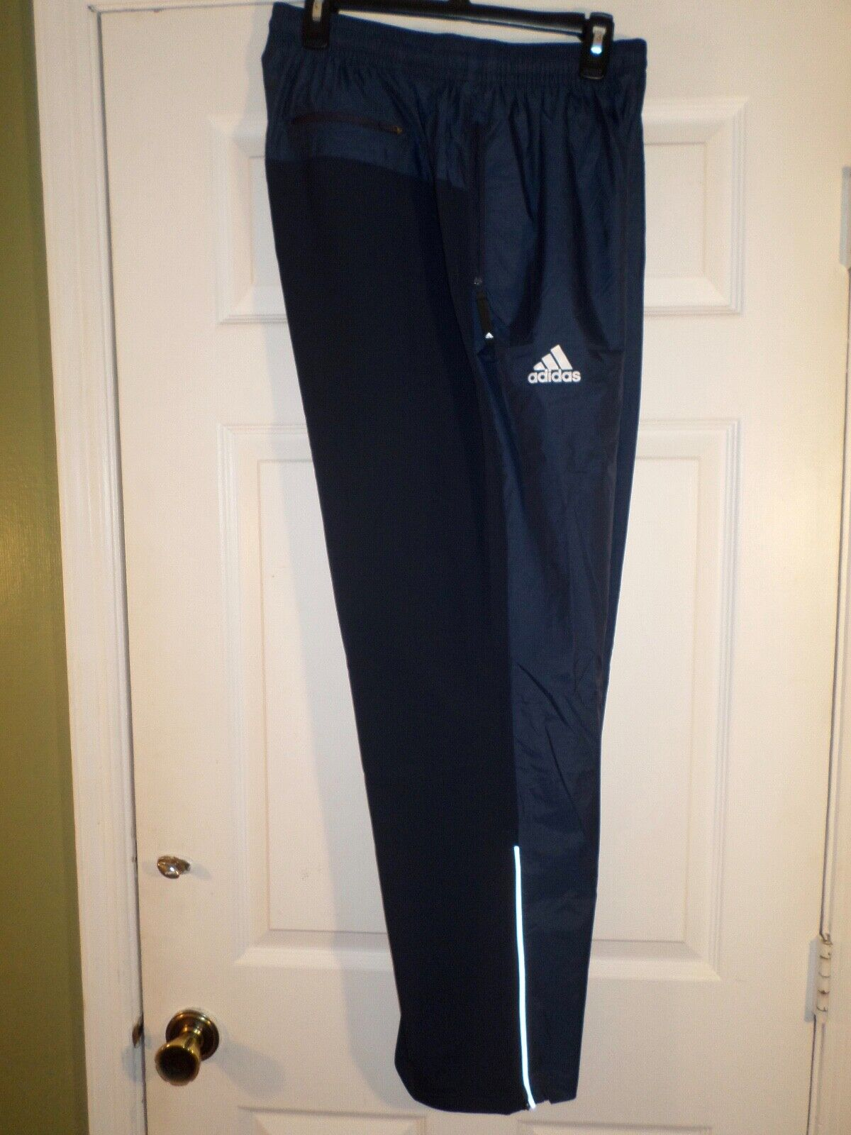 Adidas MV Woven Wind Pants Size L & XL Men's  bluee-Zippered Leg