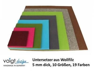 Untersetzer WOLLFILZ 5 mm rechteckig 7 Größen 19 Farben spitze Ecke Glas Tisch
