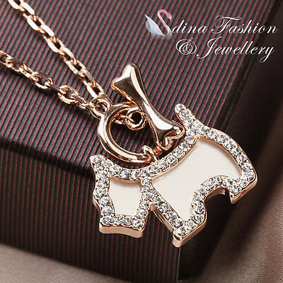 18K Rose Gold Plated Simulated Diamond Exquisite Pet Dog & Bone Necklace