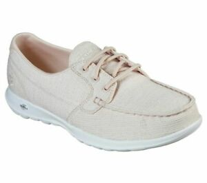 Details about Go Walk Canvas Skechers Light Pink shoes Women Slip On Comfort Casual Boat 16422