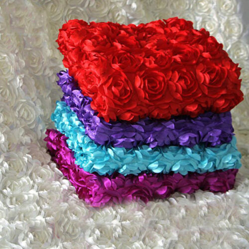 1/11yds 3D Rosette Rose Satin Fabric 1.45m Wide Wedding Carpet Backdrop Curtain