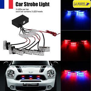 6PCS-Strobe-Strobo-Stroboscope-Clignotant-18-LED-Lumiere-Bleu-Rouge-pour-Voiture