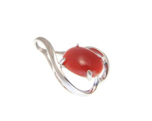 GENUINE NATURAL OVAL CABOCHON RED CORAL PENDANT SLIDE SOLID 14K WHITE GOLD