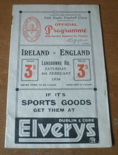 1936 Ireland v England, Five Nations Match Programme.