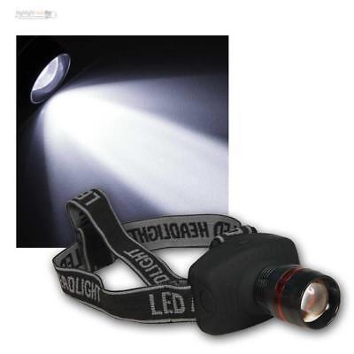 Helmleuchte 1W HighPower LED Kopflampe Stirnlampe fokussierbar Stirnleuchte