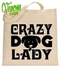 Crazy Dog Lady Tote Shopping Bag LETTERE stelle Divertente Regalo Di Natale Abbigliamento DONNA