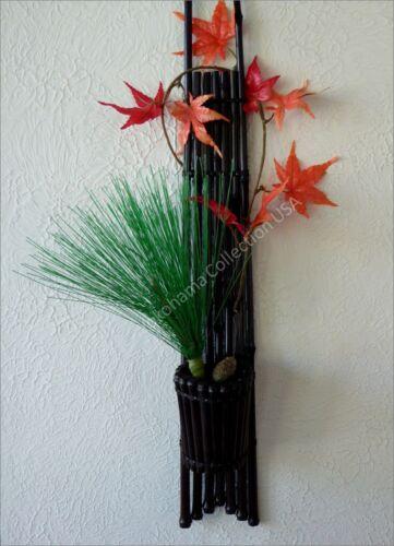 Ikebana Rustic Bamboo Hanging Wall Vase KARUKAYA HASHIRAKAKE SOME DAI//Made Japan
