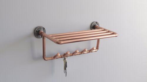 Copper key rack//coat hooks with shelf Stylish hallway Industrial copper pipe