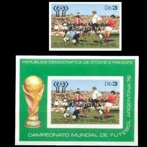 Football 1978 Sao Tome Winners Stamp + souvenir sheet impf mnh ARGENTINA